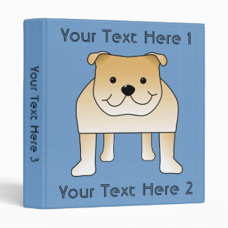 Cute Fawn Bulldog Cartoon Vinyl Binder