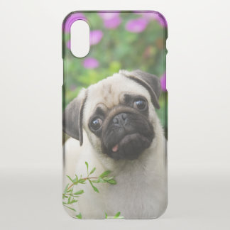 Cute Fawn Colored Pug Puppy Dog Face Pet Photo /// iPhone X Case