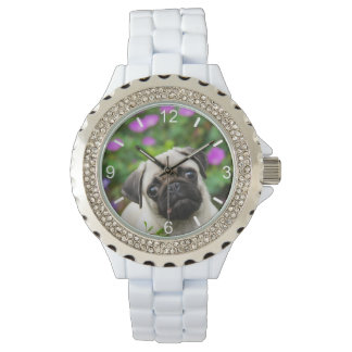 Cute Fawn Colored Pug Puppy Dog - women dial-plate Watch
