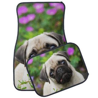 Cute Fawn Coloured Pug Puppy Dog, floor-mats Car Liners