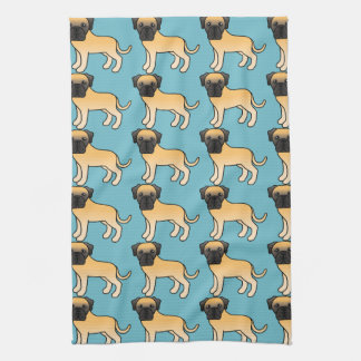 Cute Fawn Old English Mastiff Dogs Pattern Kitchen Towel