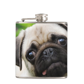 Cute fawn pug puppy hip flask