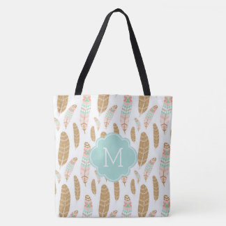Cute Feathers Monogrammed Tribal Inspired Pattern Tote Bag
