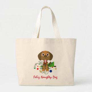 Cute Feliz Naughty Dog Cartoon Large Tote Bag