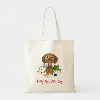 Cute Feliz Naughty Dog Cartoon Tote Bag