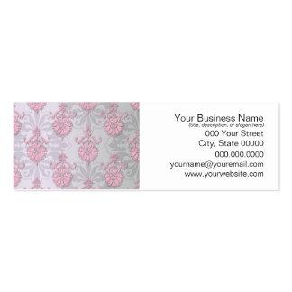 Cute Feminine Girly Pink Damask Mini Business Card