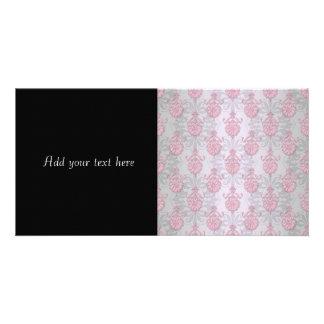 Cute Feminine Girly Pink Damask Photo Card Template