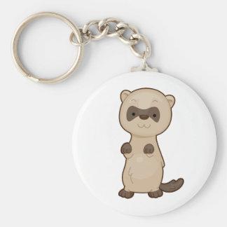 Cute Ferret Basic Round Button Keychain