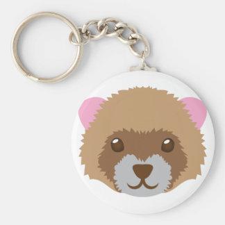 cute ferret face basic round button keychain