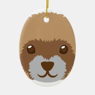 cute ferret face ceramic ornament