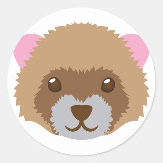 cute ferret face classic round sticker