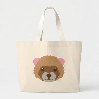 cute ferret face large tote bag