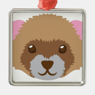 cute ferret face metal ornament