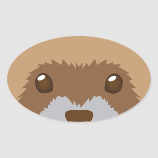 cute ferret face oval sticker