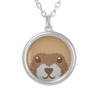 cute ferret face silver plated necklace