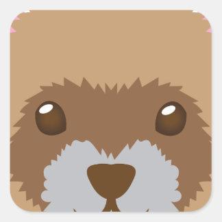 cute ferret face square sticker