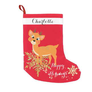 Cute Festive Baby Reindeer Small Christmas Stocking