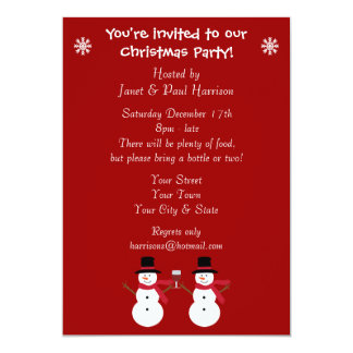 Cute Festive Snowmen Christmas Party Invitations