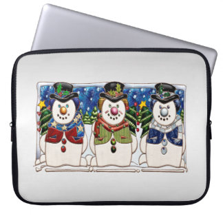 Cute Festive Snowmen Laptop Computer Sleeves