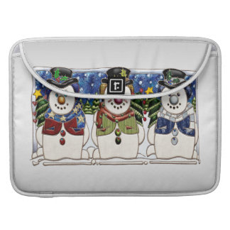 Cute Festive Snowmen MacBook Pro Sleeves
