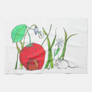 cute field mouse and big red strawberry house kitchen towel