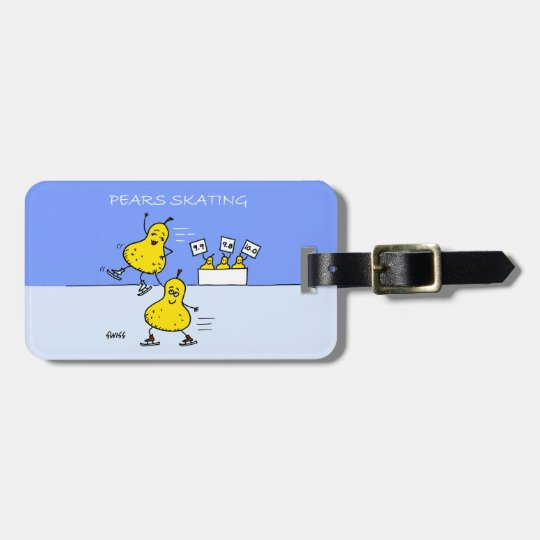 Cute Figure Skater Cartoon Humourous Luggage Tags
