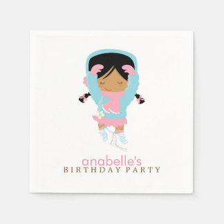 Cute Figure Skater Girl's Birthday Party Paper Napkin