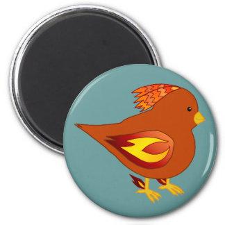 Cute fire bird 2 inch round magnet