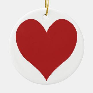 Cute Fire Brick Heart Ceramic Ornament