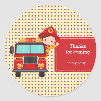 Cute Firefighter Classic Round Sticker