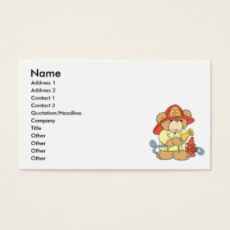 Cute Fireman Firefighter Bear Business Card