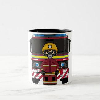 Cute Fireman with Fire Engine Mug
