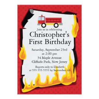 Cute Firetruck fireman Birthday Party Custom Announcement