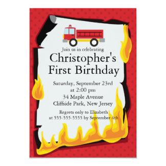 Cute Firetruck fireman Birthday Party 5x7 Paper Invitation Card