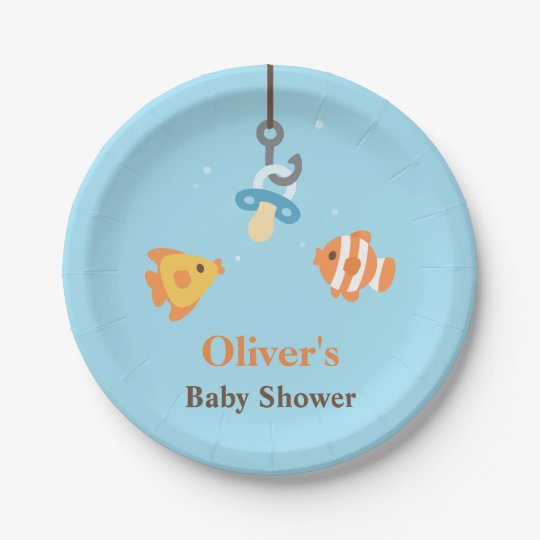 Cute Fish Bait Fishing Themed Baby Shower Supplies Paper Plate