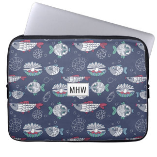 Cute Fish Pattern custom monogram laptop sleeves