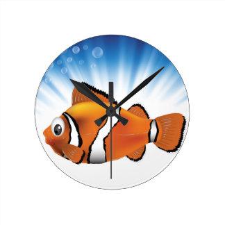 Cute fish round clock