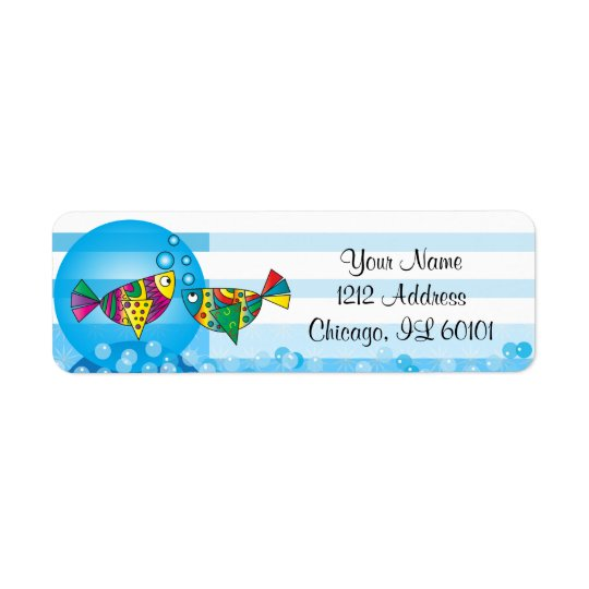 Cute Fishy Bubbles Baby Shower Theme Return Address Label