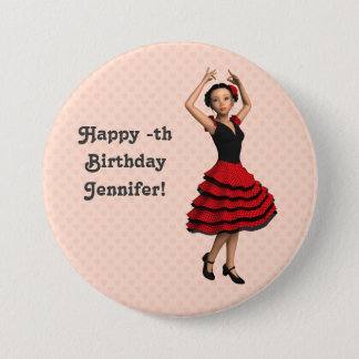 Cute Flamenco Dancer (Personalized) 3 Inch Round Button