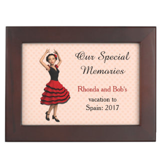 Cute Flamenco Dancer (Personalized) Keepsake Box