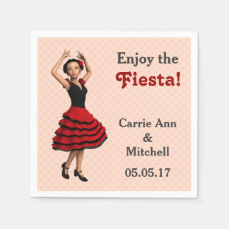 Cute Flamenco Dancer (Personalized) Paper Napkin