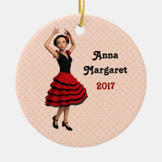 Cute Flamenco Dancer (Personalized) Round Ceramic Ornament