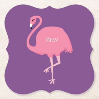 Cute Flamingo custom monogram paper coasters