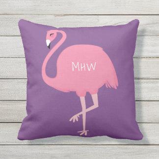 Cute Flamingo custom monogram throw pillows