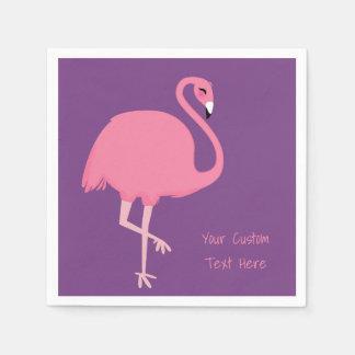 Cute Flamingo custom text paper napkins