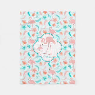 Cute Flamingo Mom and Baby Pattern Fleece Blanket