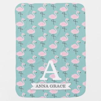 Cute Flamingo Pastel Initial Name Blanket