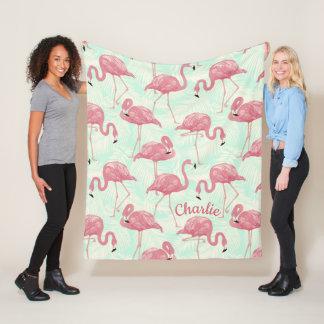 Cute Flamingo pattern custom name fleece blanket