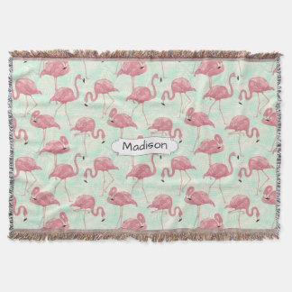 Cute Flamingo Pattern custom name throw blanket