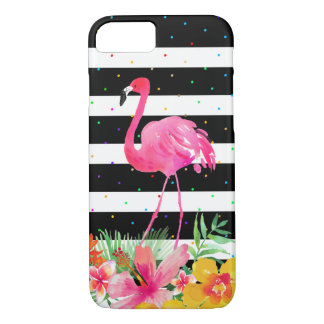 Cute Flamingo Tropical Flowers & Black Stripes iPhone 8/7 Case